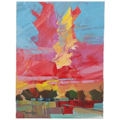 "Jose Trujillo Landscape Oil Painting ""Summer Sunsets,"" 2019"
