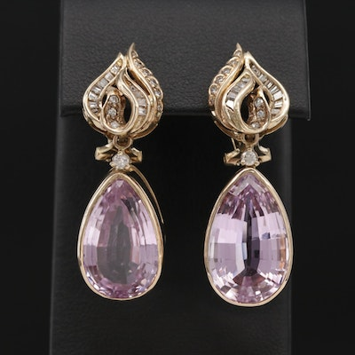 14K Kunzite Dangle Earrings with Diamond Accents