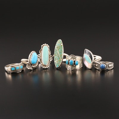 Collection of Sterling Silver Rings Including Mother of Pearl and Turquoise