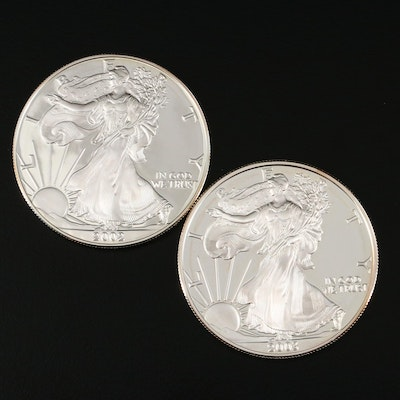 Two $1 U.S. Silver Eagle Proof Coins Including 2002-W and 2003-W