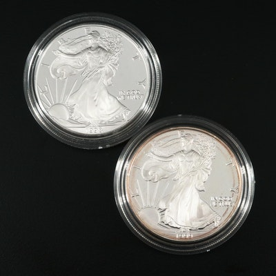 Two $1 U.S. Silver Eagle Proof Coins Including 1998-P and 1999-P