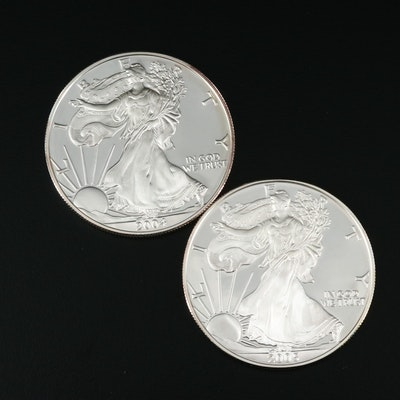 Two $1 U.S. Silver Eagle Proof Coins Including 2004-W and 2005-W
