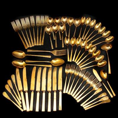 Dirilyte Gold Tone Flatware in Original Chest, Mid-20th Century
