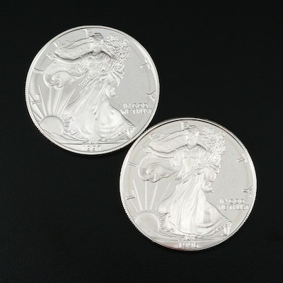 Two $1 U.S. Silver Eagle Proof Coins Including 1996-P and 1997-P