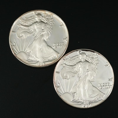 Two $1 U.S. Silver Eagle Proof Coins Including a 1986-S and 1987-S