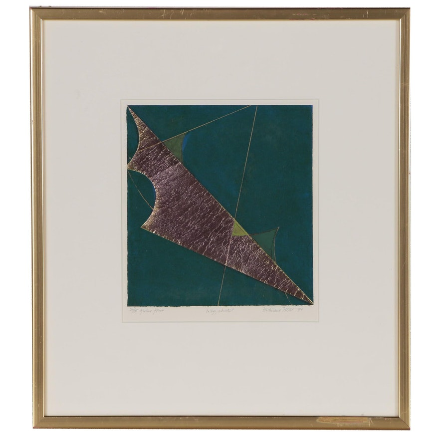 """Ferdinand Finne Abstract Collage with Aquatint """"Grønne Forme"""", 1994"""