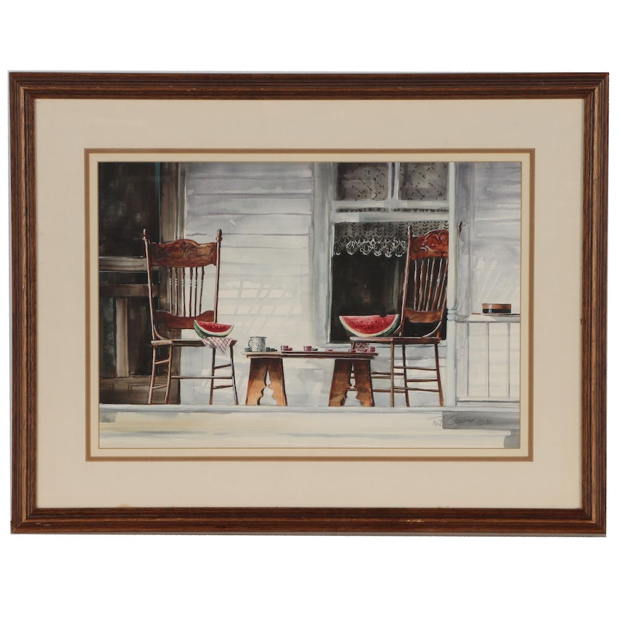 Rod Crossman Watercolor Painting of a Porch Scene, 1982