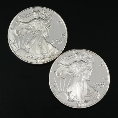 Two $1 U.S. Silver Eagle Proof Coins Including 2000-P and 2001-W
