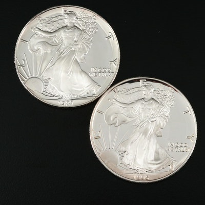 Two $1 U.S. Silver Eagle Proof Coins Including a 1987-S and 1995-P