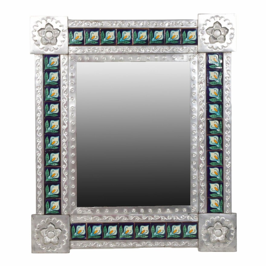 Mexican Hand-Painted Tiled and Tin Wall Mirror