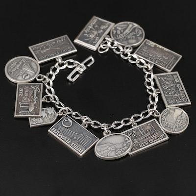 Sterling Silver Travel Theme Charm Bracelet