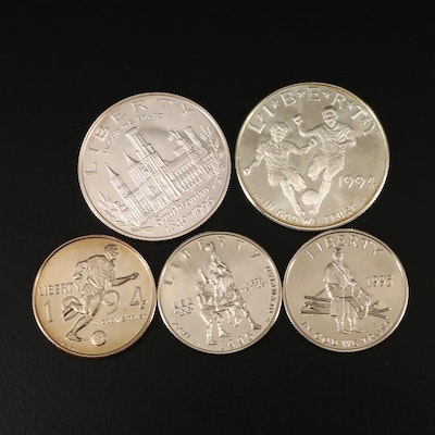 Five U.S. Commemorative Coins Including 1994-S World Cup Proof Silver Dollar