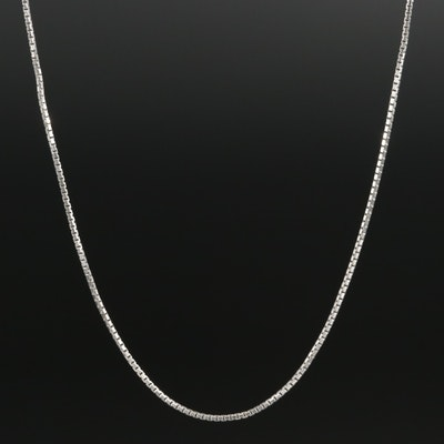 18K White Gold Box Chain Necklace