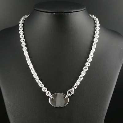 Fine Silver ID Necklace with Cable Chain