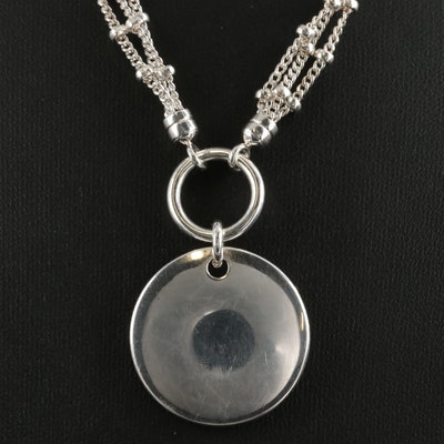 Fine Silver Disc Pendant on Curb Link Multi-Strand Station Necklace