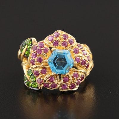 Sterling Silver Blue Topaz, Garnet and Diopside Floral Ring