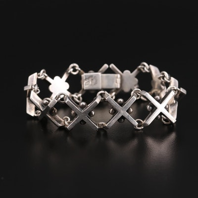 Taxco Mexico Sterling Silver 'X' Bracelet