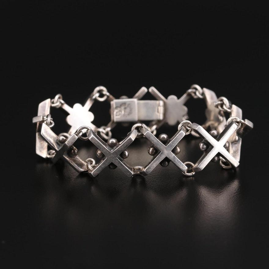 Taxco Mexico Sterling Silver 'X' Bracelet