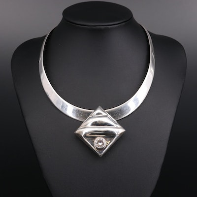 Mexican Sterling Silver Cubic Zirconia Slide Pendant Collar Necklace