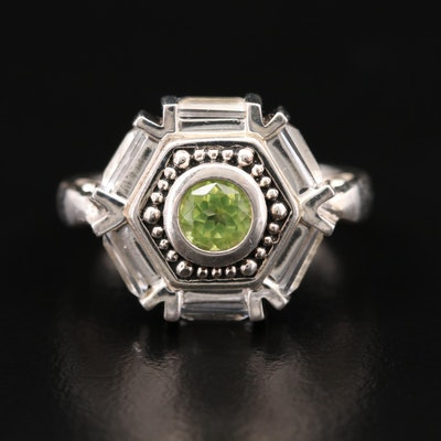Sterling Peridot and White Topaz Ring
