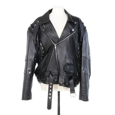 Volcano Black Leather Studded Motorcycle Jacket with Eagle on Back