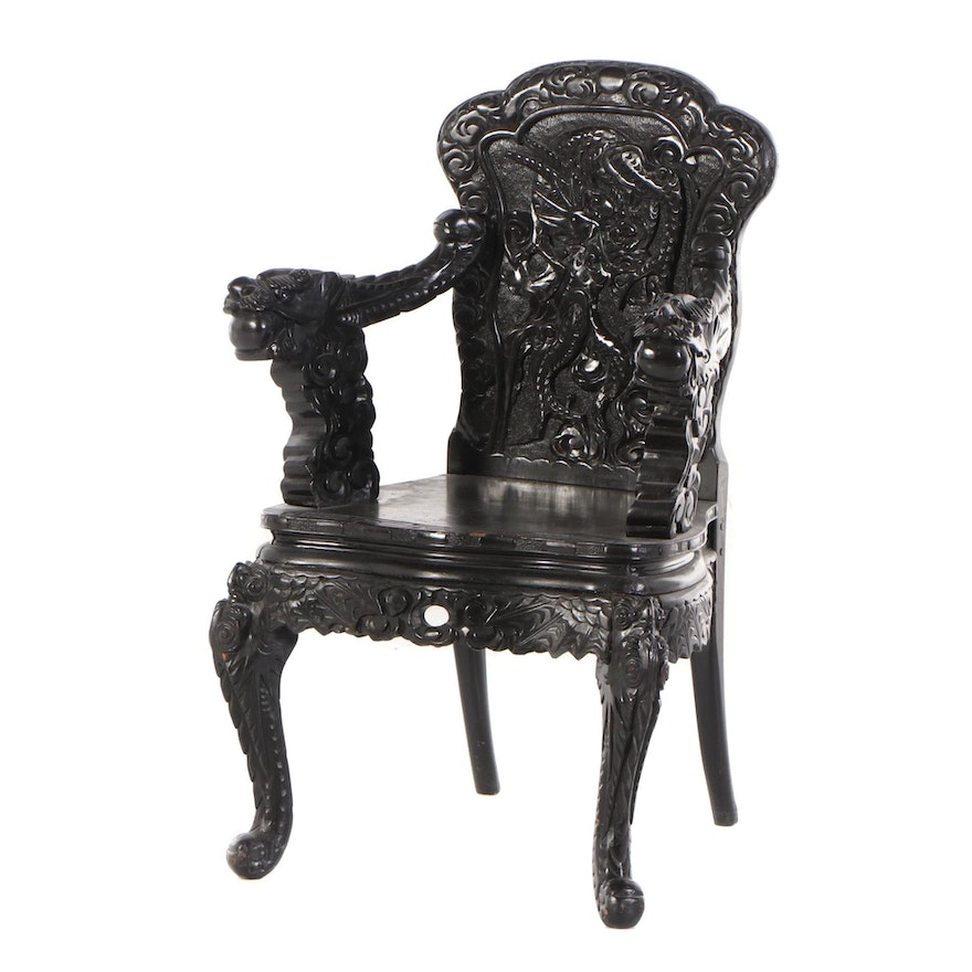 Chinese Dragon-Carved Armchair, Mid to Late 20th Century