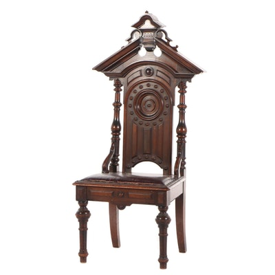 Renaissance-Revival Walnut Hall Chair, Late 19th Century