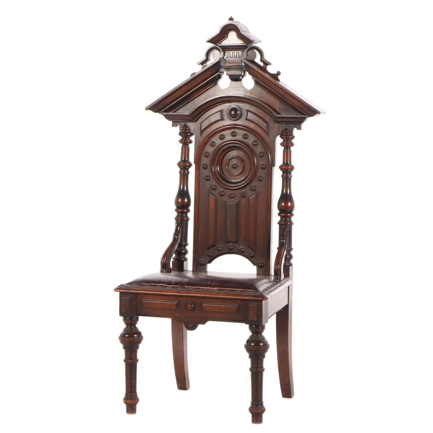Renaissance-Revival Walnut Hall Chair, Late 19th Century