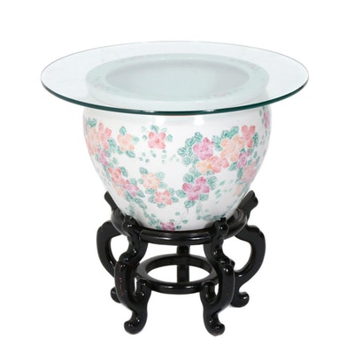 Rose Jardinière Glass Top Side Table