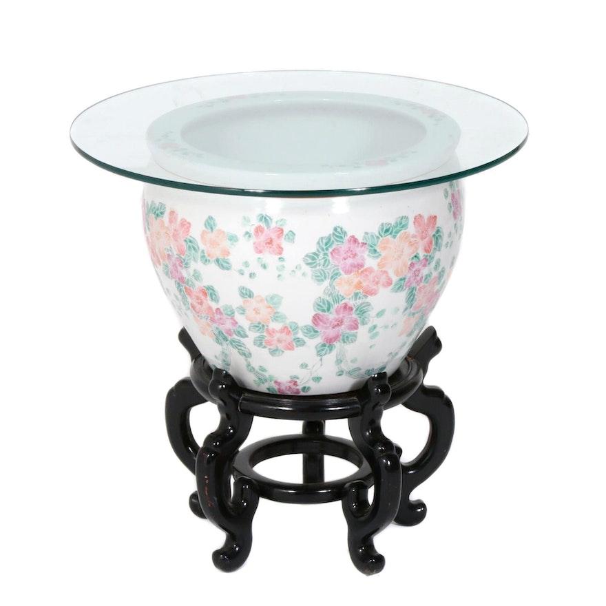 Rose Jardinière Glass Top Side Table