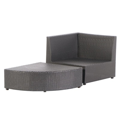 Synthetic Woven Corner Chair and Ottoman, 21st Century
