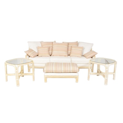 Whitewashed Rattan Patio Furniture Set in the Style of Ficks Reed