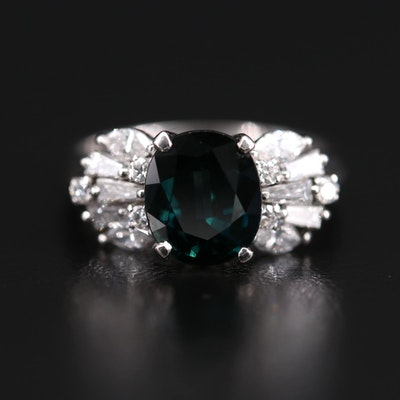 Platinum 3.35 CT Sapphire and Diamond Ring
