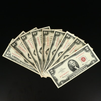 One $5 and Eight $2 Vintage Red Seal United States Notes