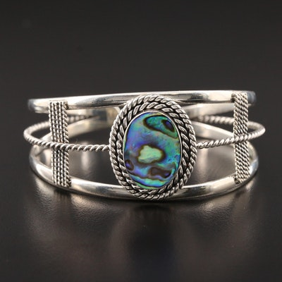 Sterling Silver Abalone Twisted Wire Cuff Bracelet