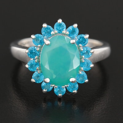 Sterling Silver Opal and Apatite Halo Ring
