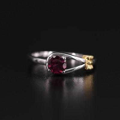 Sterling Silver Garnet Love Knot Ring