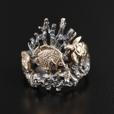 Kabana Sterling 14K Sea Life Ring Depicting Fish and Turtle