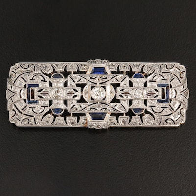 Art Deco 18K Yellow Gold Diamond and Sapphire Brooch with Platinum Top