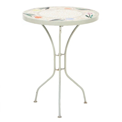 Wrought Iron Patio End Table with Glass Mosiac Tile, Late 20th Century