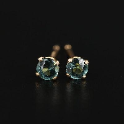 14K Green Tourmaline Stud Earrings