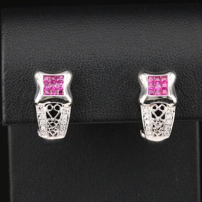14K White Gold Ruby and Diamond Huggie Earrings