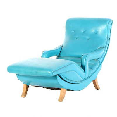 "Mid Century Modern Turquoise Painted Vinyl ""Contour Chair"", 1950s"