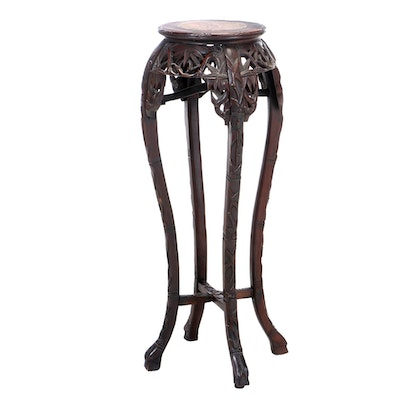 Carved Chinese Plant Stand with Inset Marble, Early 20th Century