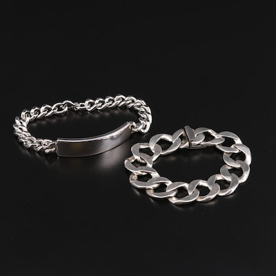 Sterling Silver Curb Chain and ID Bracelets