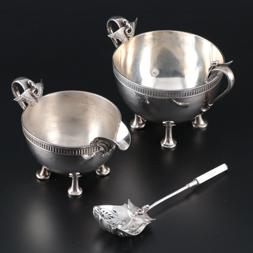 """Gorham """"Isis"""" Sterling Silver Creamer, Sugar Bowl and Sugar Sifter, Late 19th C."""