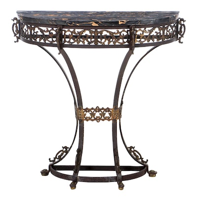 Renaissance Revival Wrought Iron, Brass and Marble Console Table, 1920s