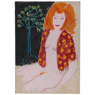 Franklin Folger Acrylic and Ink Painting of Female Figure