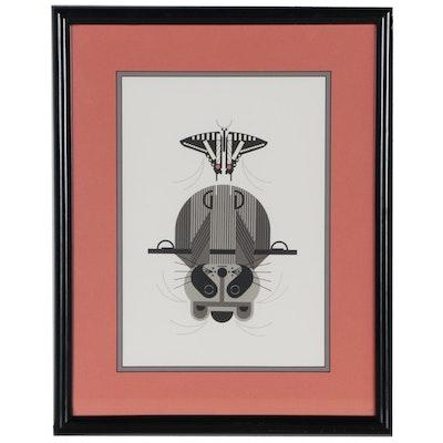"Charley Harper Lithograph ""Raccrobat"", 1978"