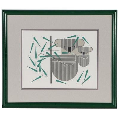 """Charley Harper Lithograph """"KoalaKoala"""", 1979"""